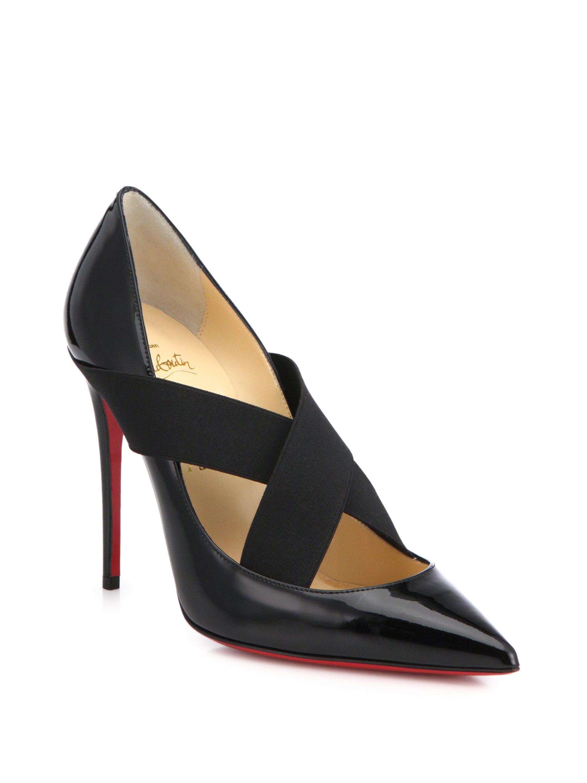 christian louboutin replica heels - christian louboutin peep-toe pumps Black mesh patent accent | The ...