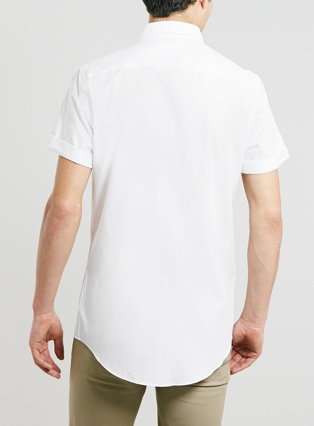 Topman short sleeve penny collar dress shirt in white for for Short sleeve white dress shirt