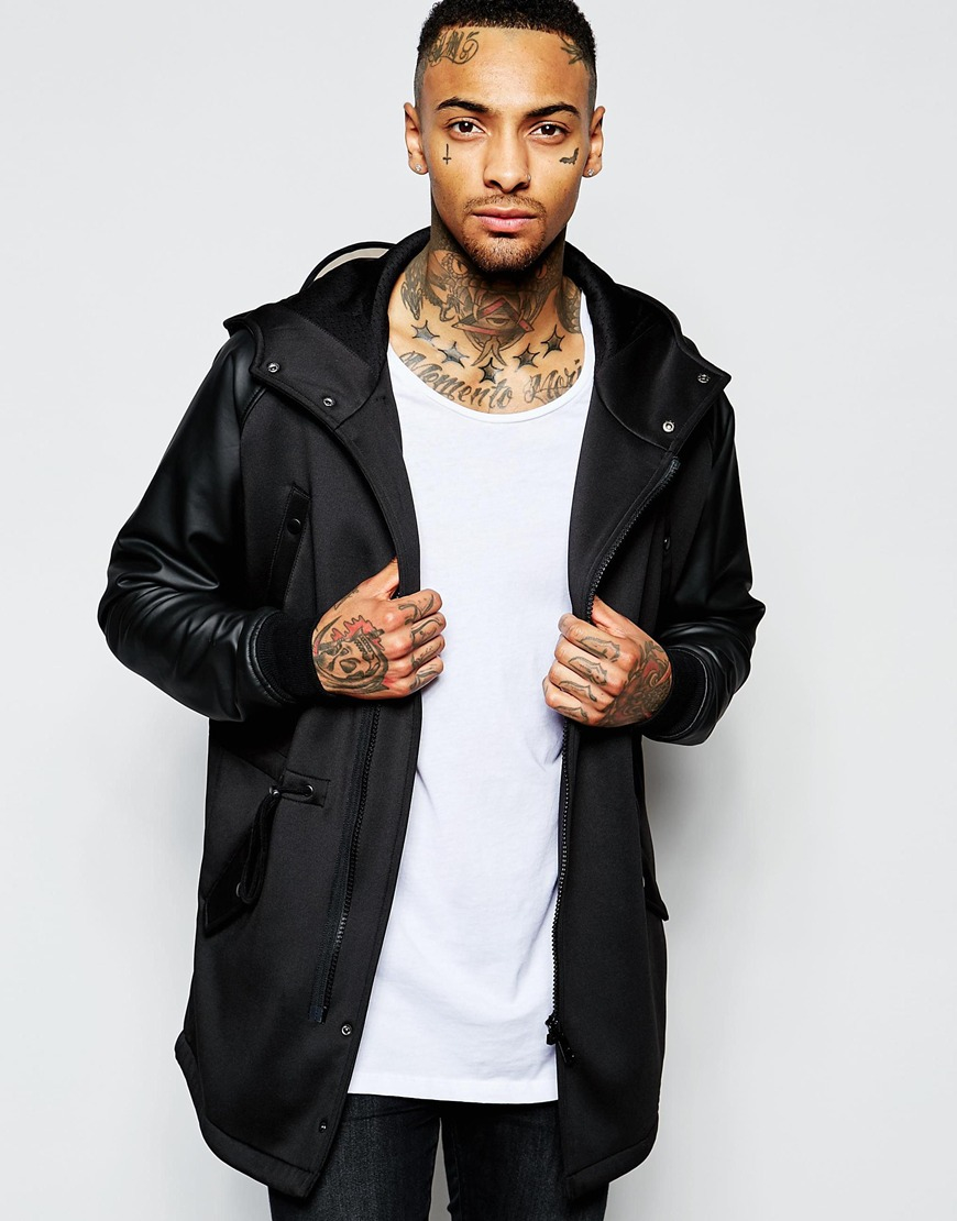 Asos Neoprene Parka Jacket With Perspex Cap In Black in Black for ...