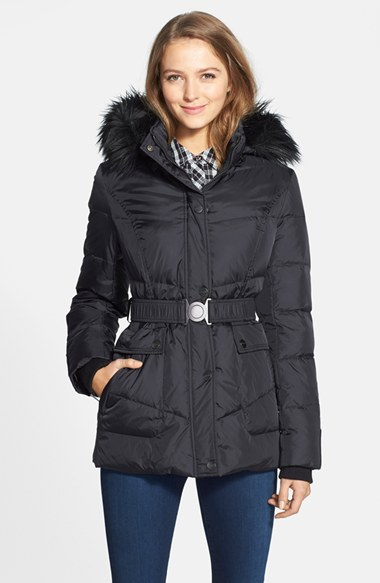 Lyst Dkny Hayley Faux Fur Trim Hooded Belted Quilted Jacket In Black