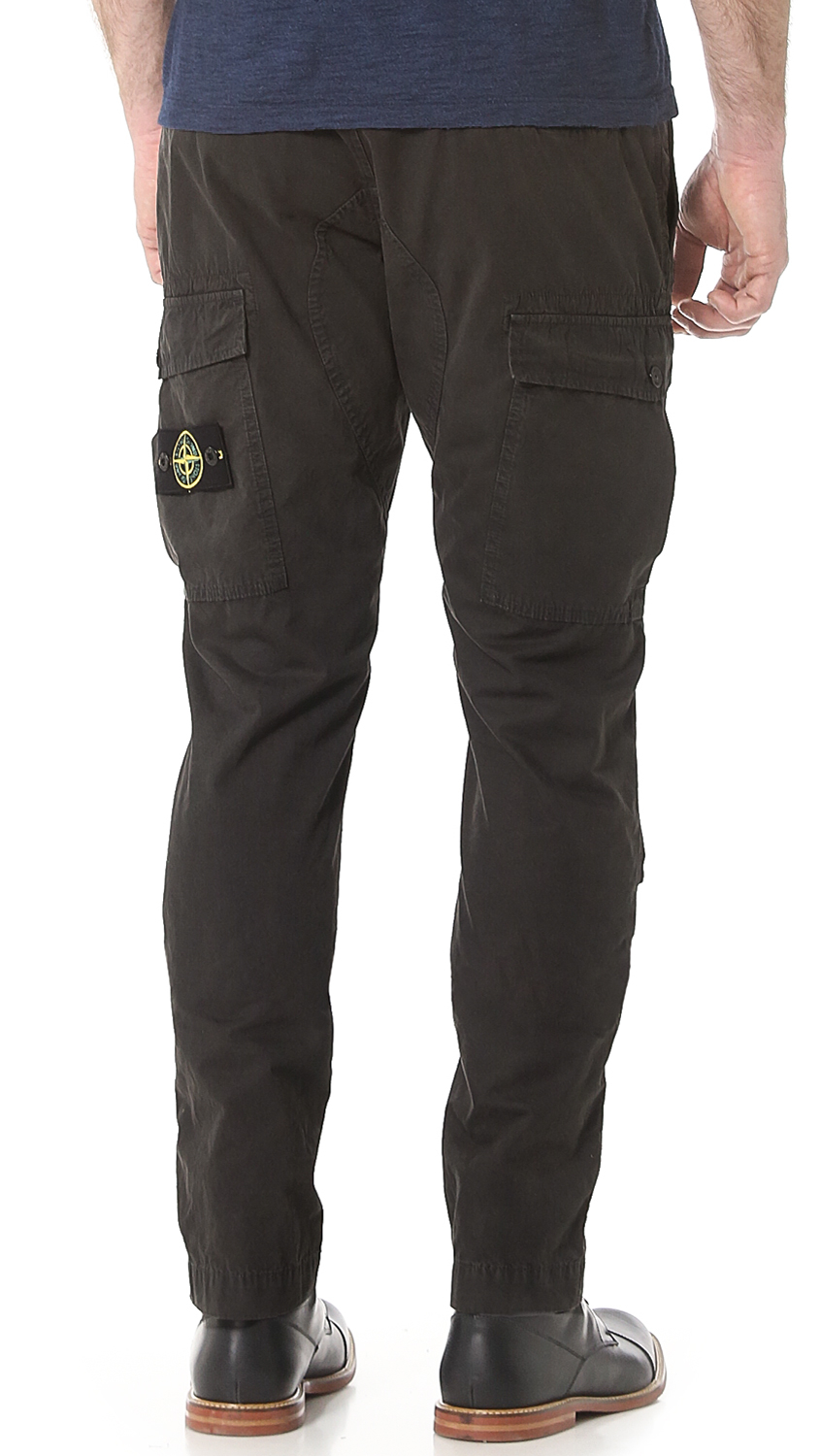stone island tapered fit cargo pants in gray for men lyst