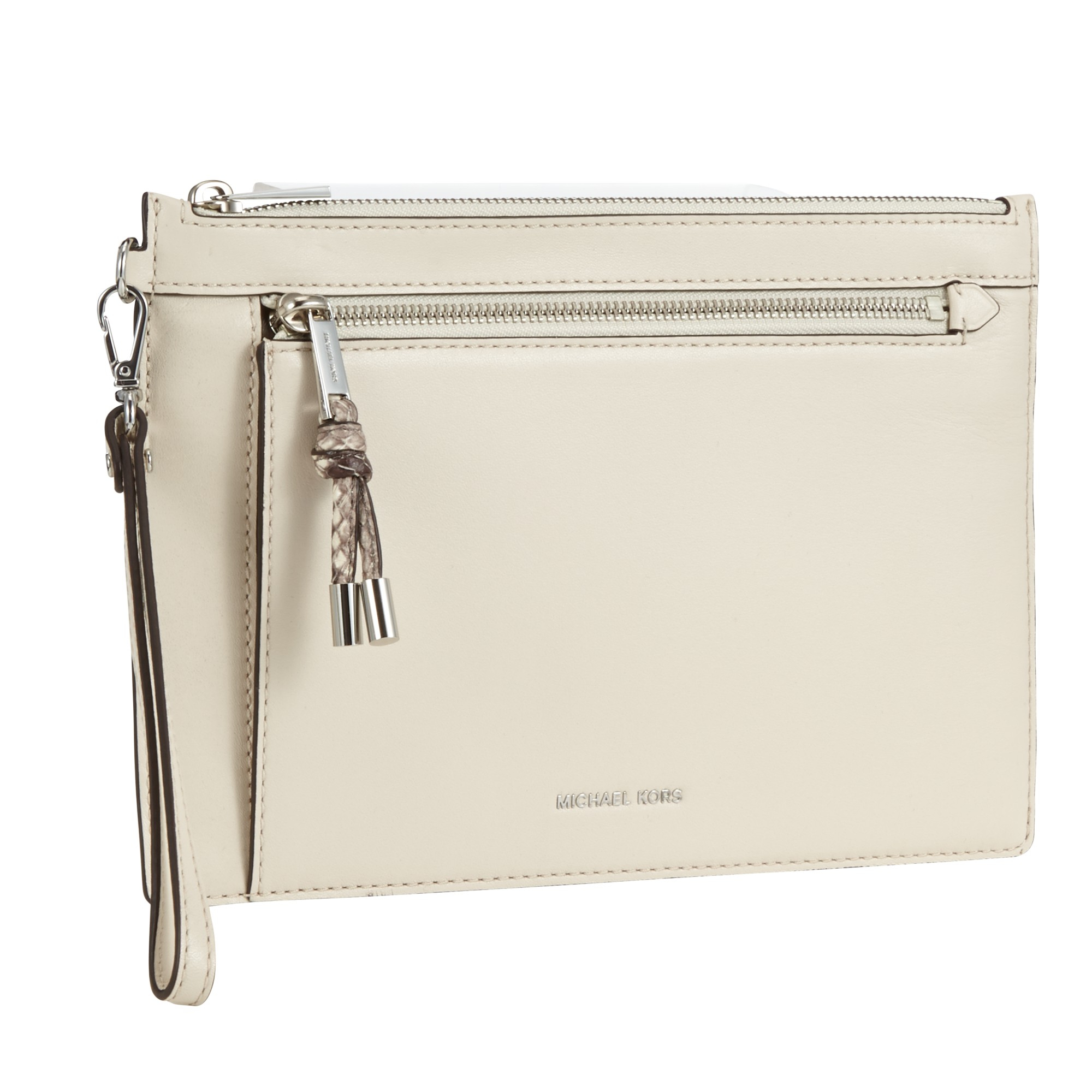 3ff20820b7e6 MICHAEL Michael Kors Isabel Leather Double Zip Clutch Bag in White ...