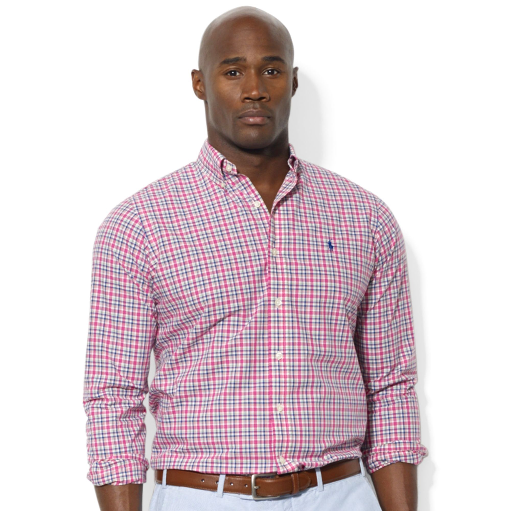 Lyst ralph lauren polo big and tall long sleeve plaid for Big and tall long sleeve shirts