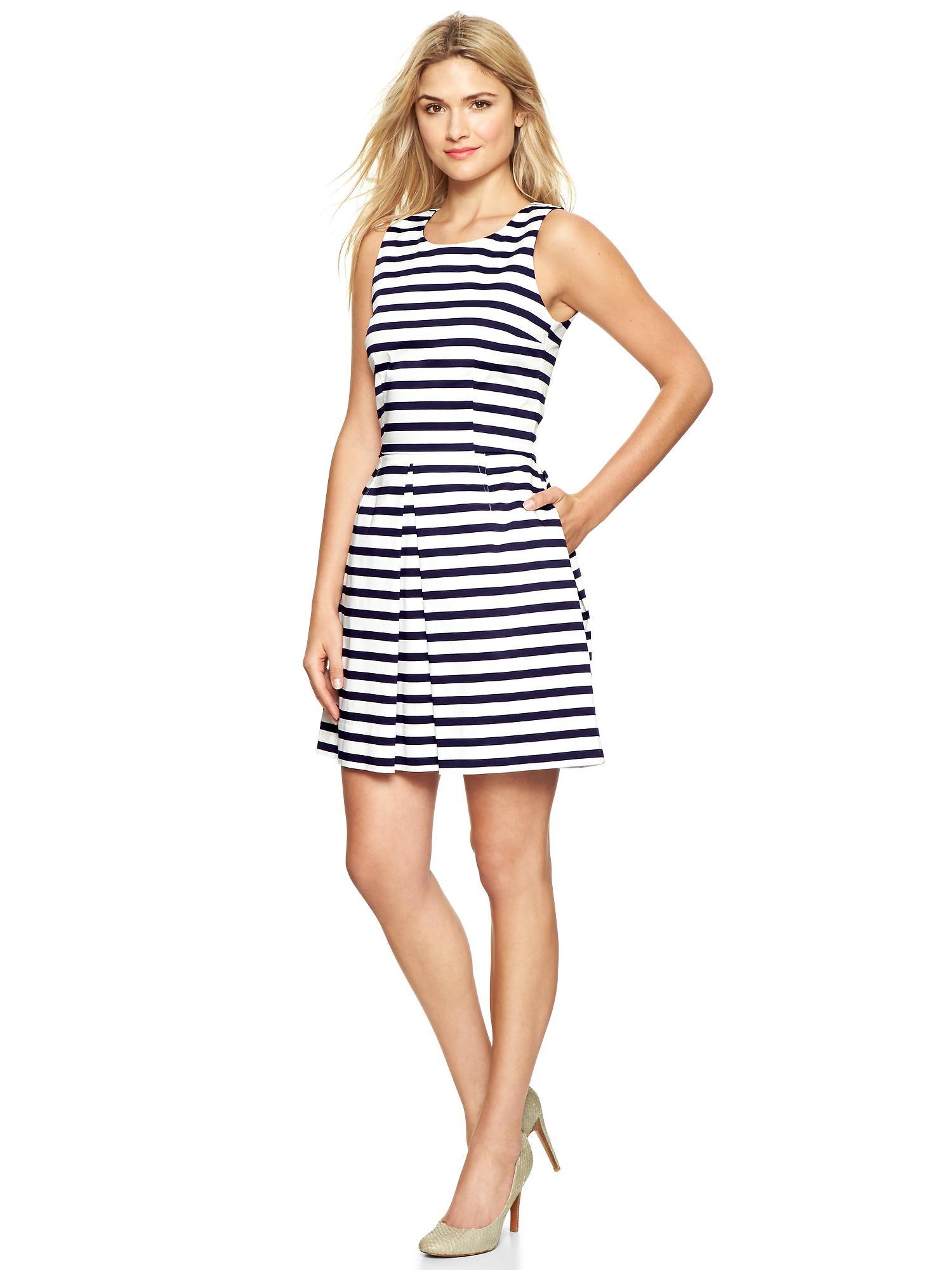 Gap Stripe Sateen Fit Amp Flare Dress In Blue Lyst