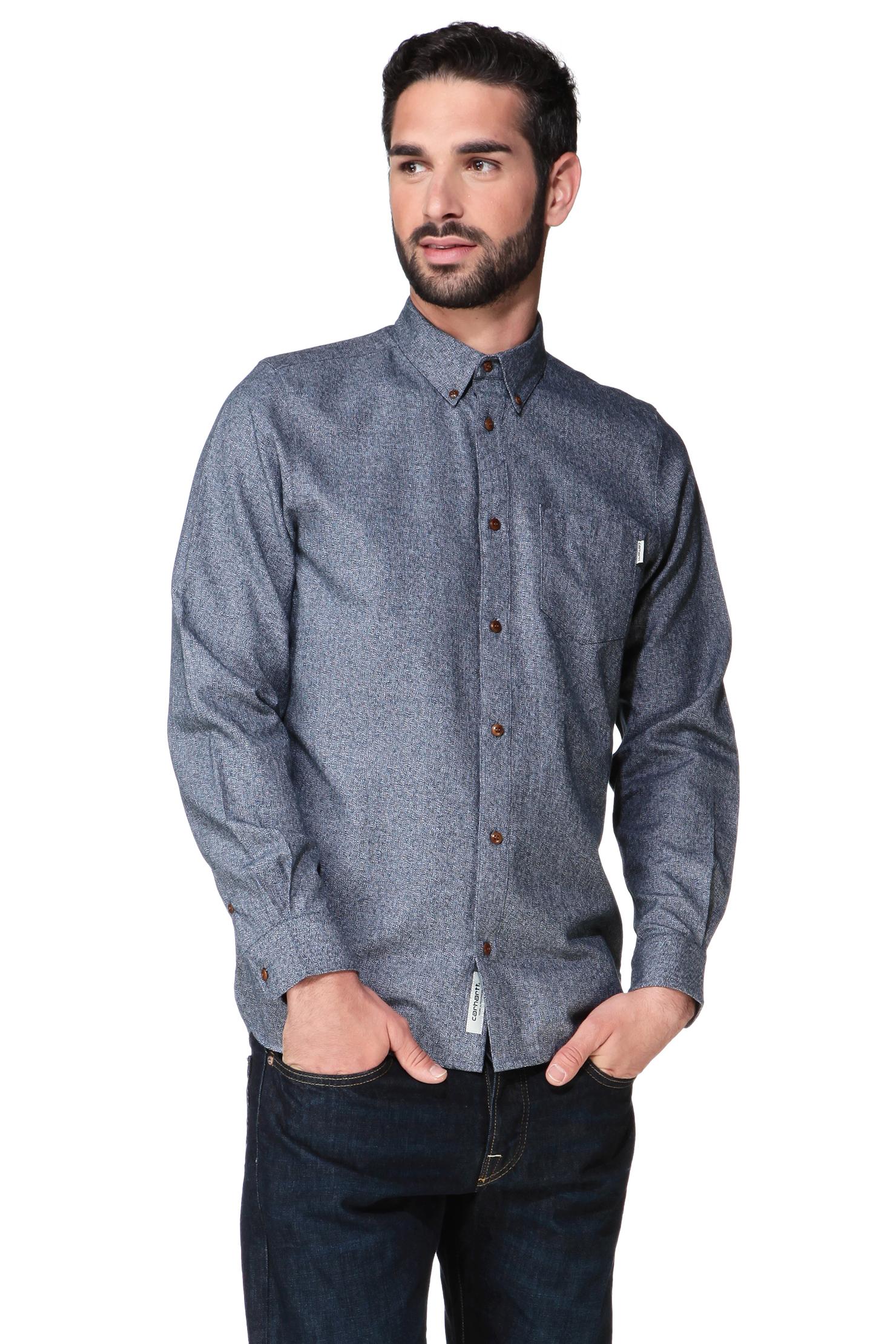 Carhartt long sleeve shirt in blue for men lyst for Carhartt men s chamois long sleeve shirt