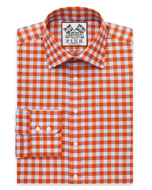 ece1ffcb Thomas Pink Plato Check Dress Shirt - Regular Fit in Orange for Men ...