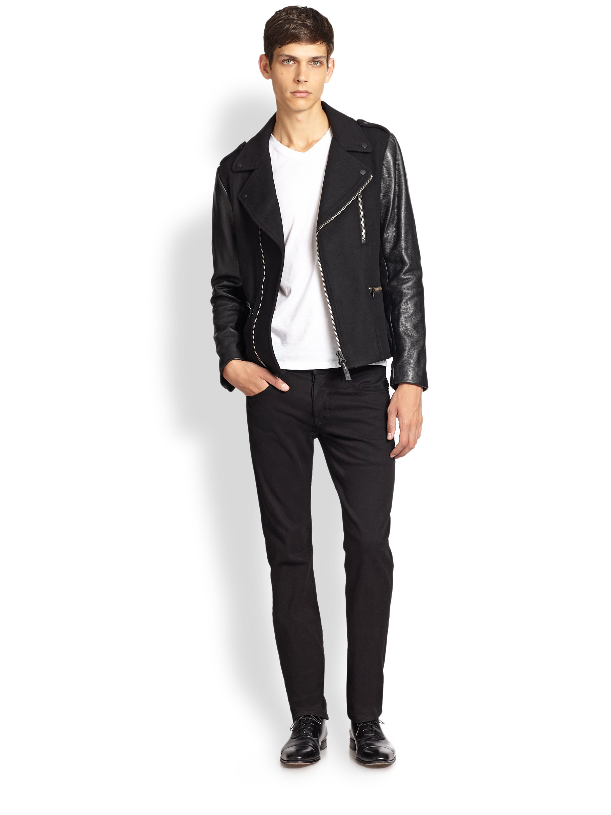 Mackage Leather Sleeve Wool Biker Jacket in Black for Men | Lyst