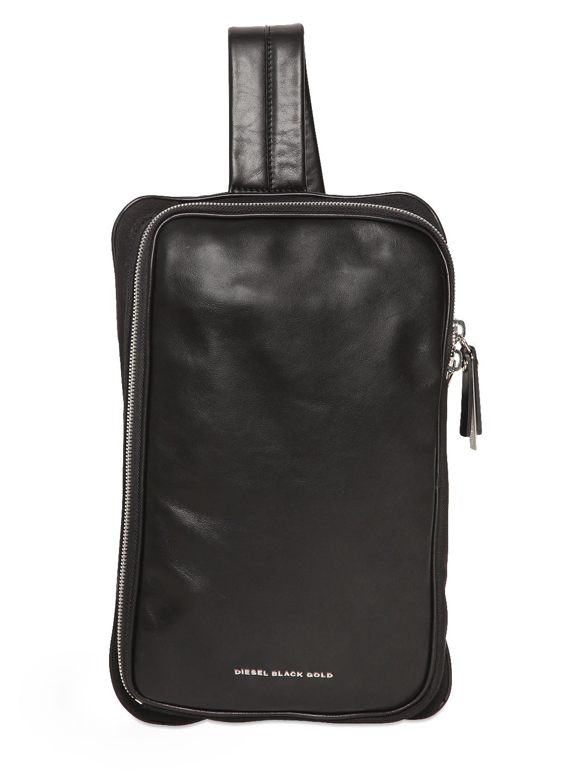 Diesel black gold Nappa Leather & Canvas Messenger Bag in Black ...