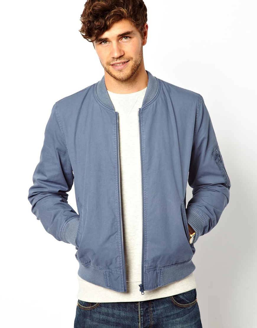 Lyst Asos Bomber Jacket In Blue For Men