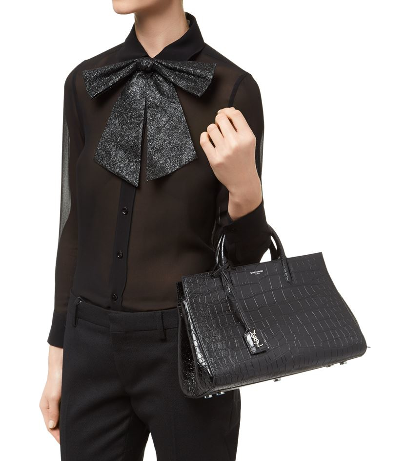 medium cabas rive gauche bag in black crocodile embossed leather