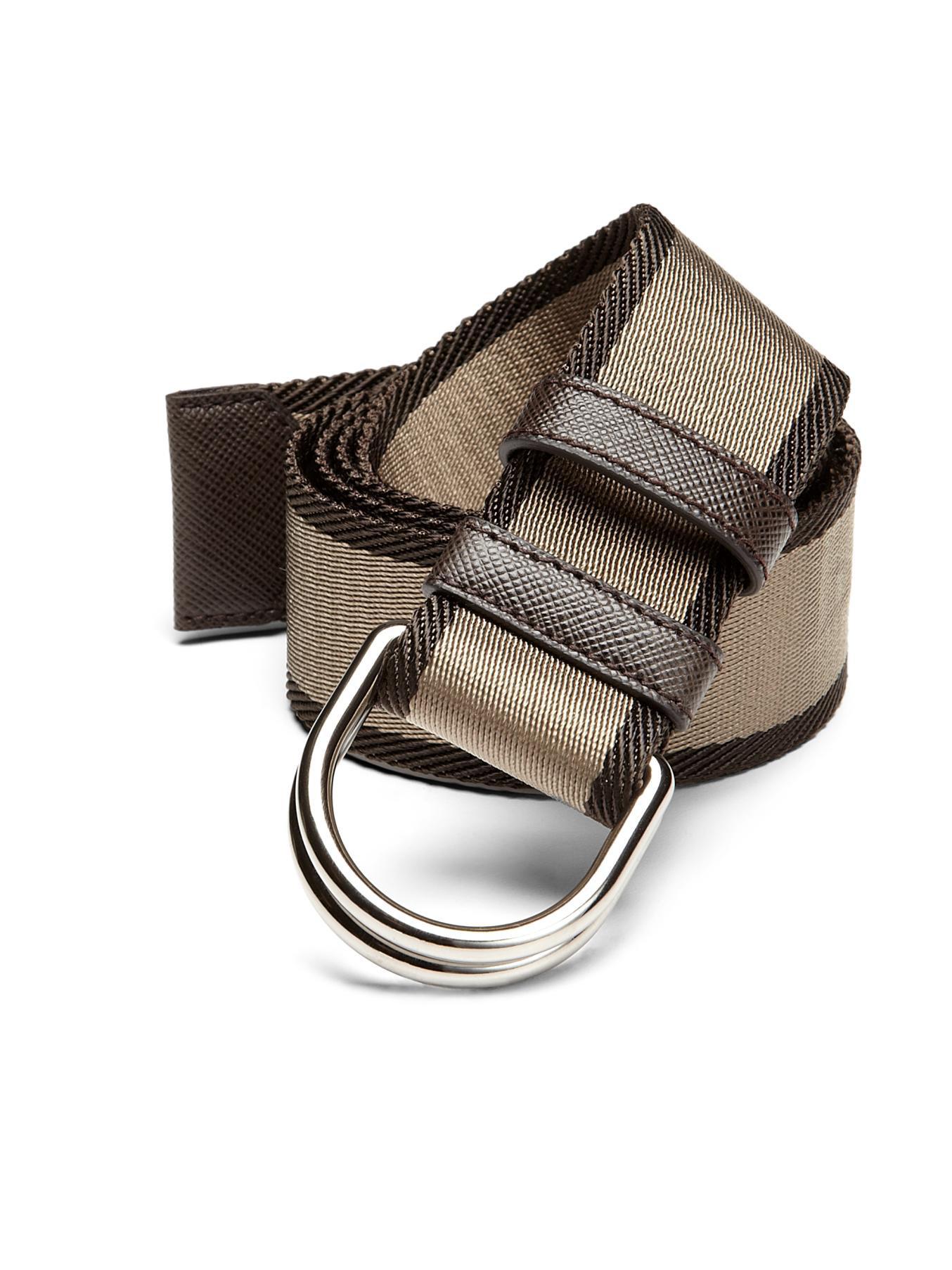Prada Bicolor Webbed D-ring Belt in Beige (CAMEL) | Lyst