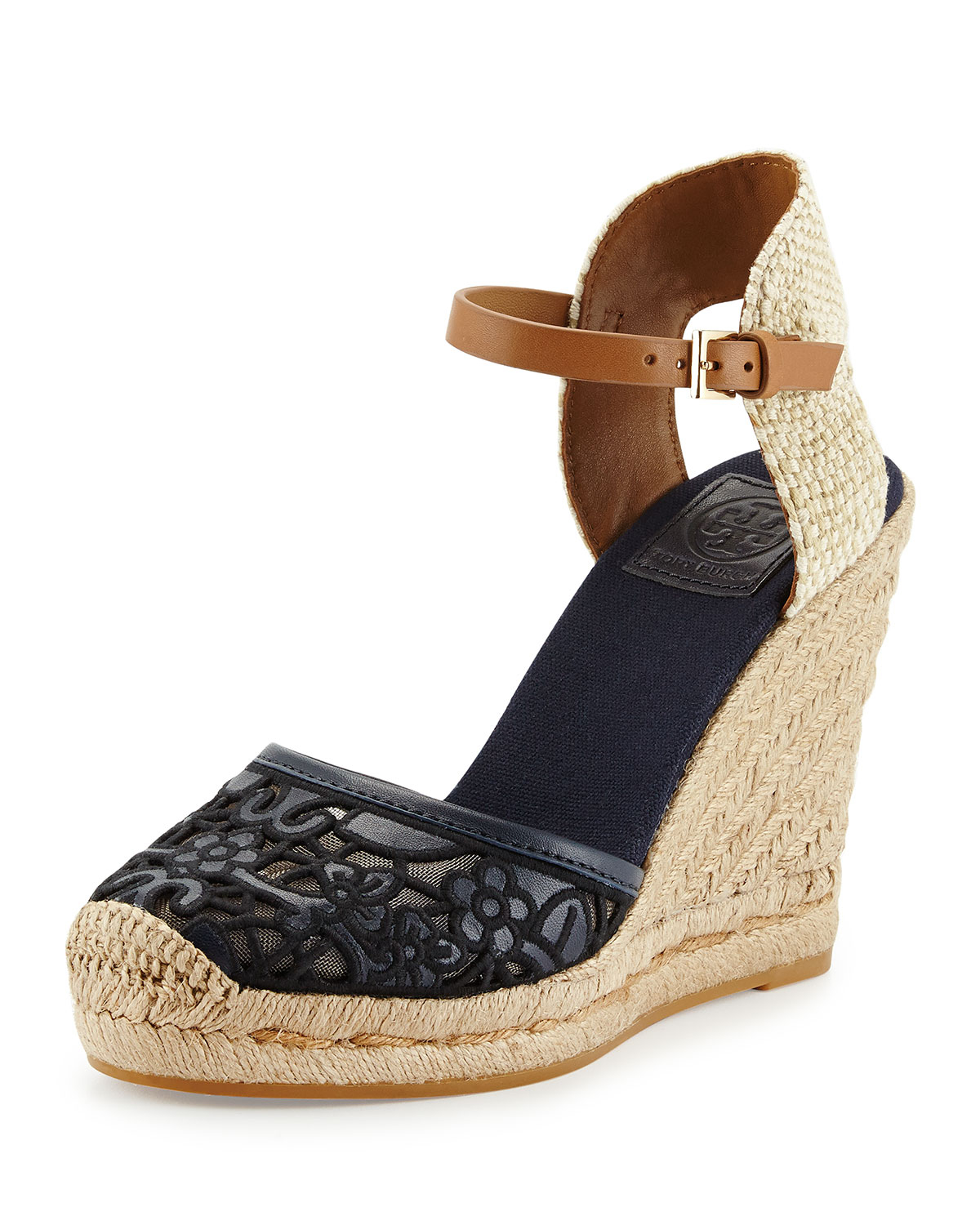 acf6184b927 Lyst - Tory Burch Lucia Lace Wedge Espadrille in Blue