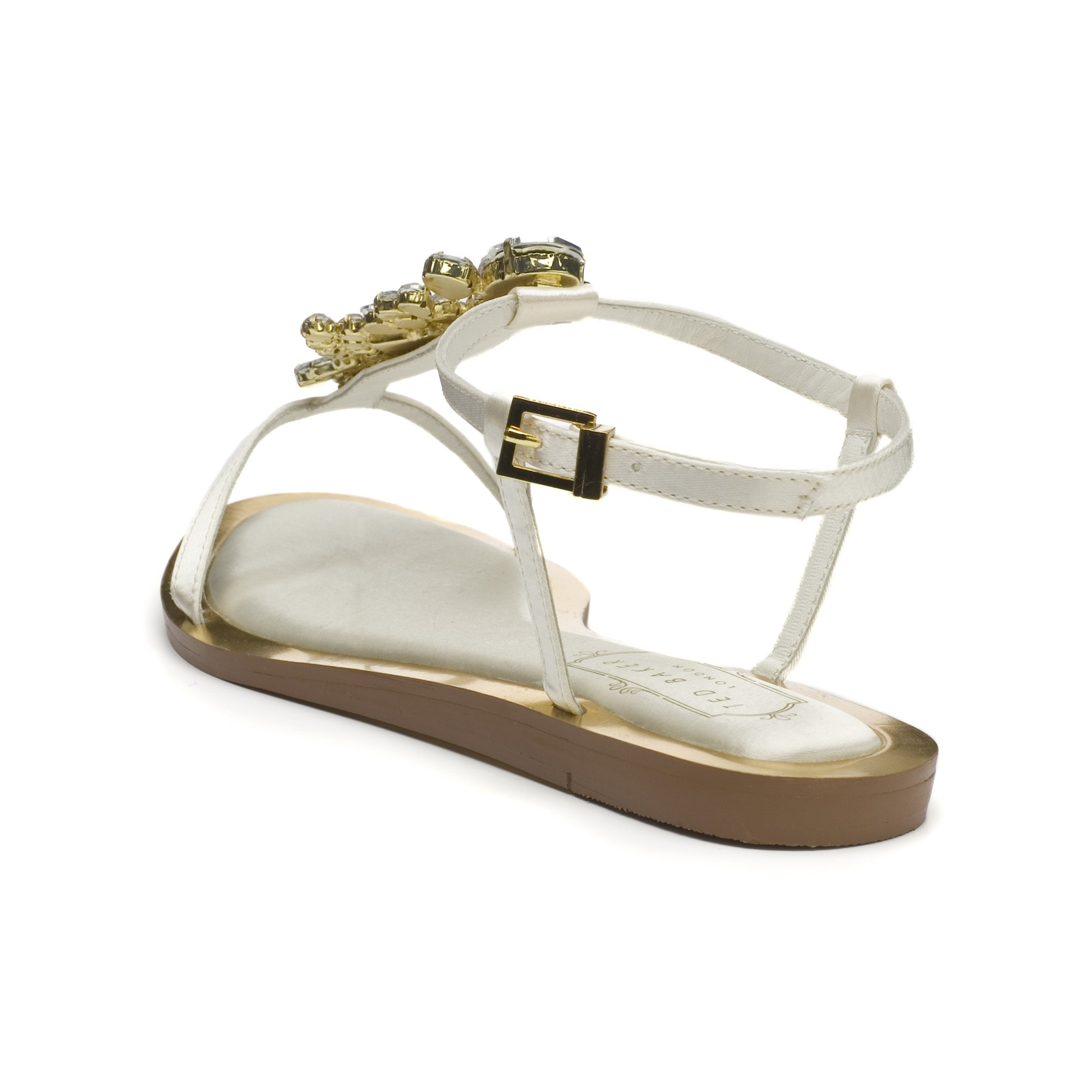 6e7443f17 Ted Baker Tie The Knot Roseupe Jewelled Sandals in White - Lyst