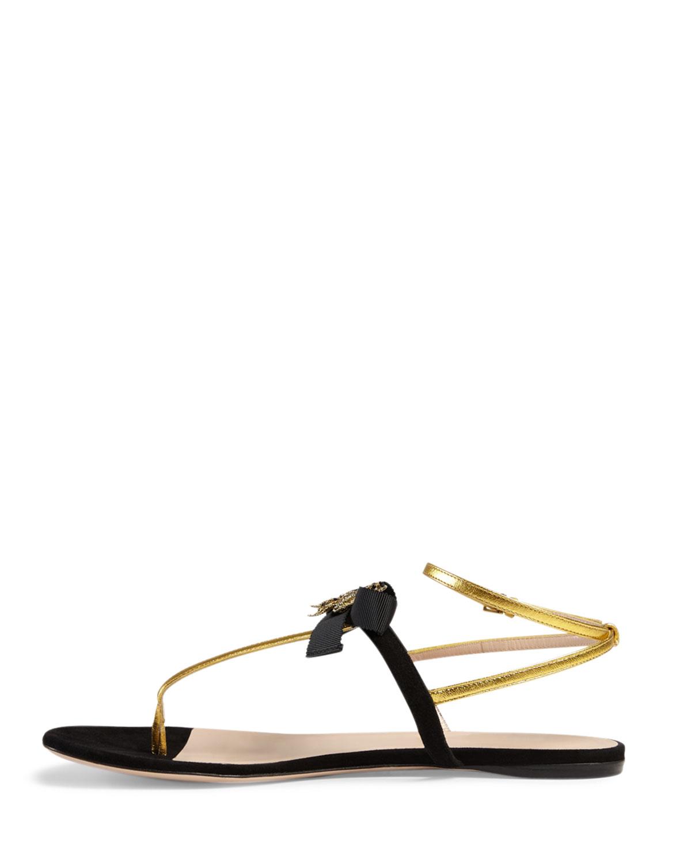 45ca4e4b60f Lyst - Gucci Moody Bow Flat Thong Sandal in Metallic