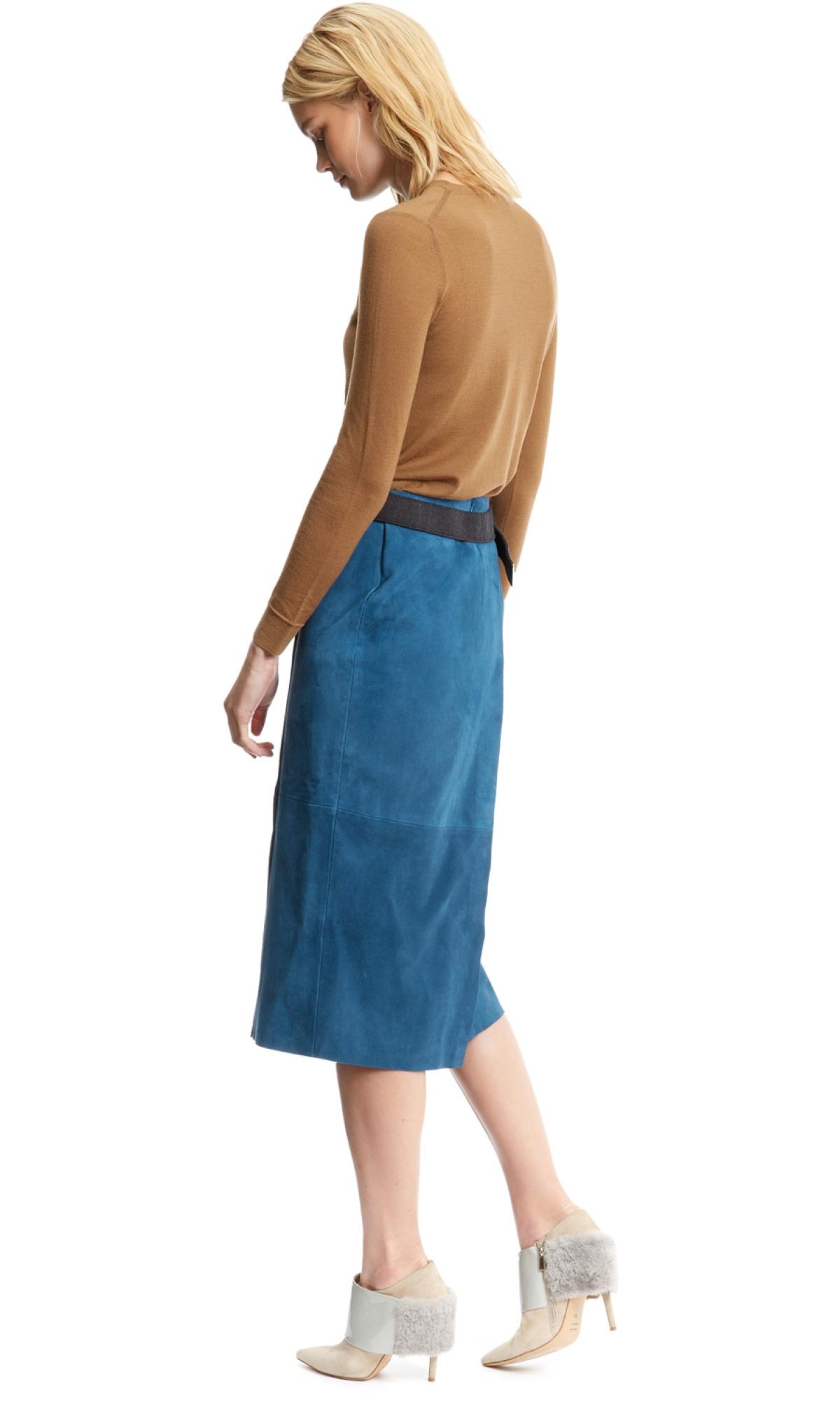 Nicole farhi Long Suede Skirt in Blue | Lyst