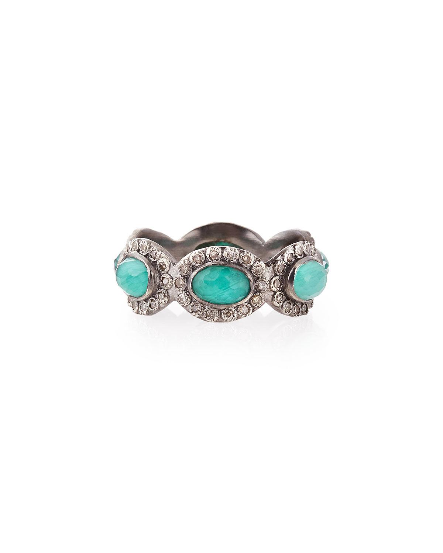 Armenta Stackable Malachite Blue Topaz Amp Diamond Ring In