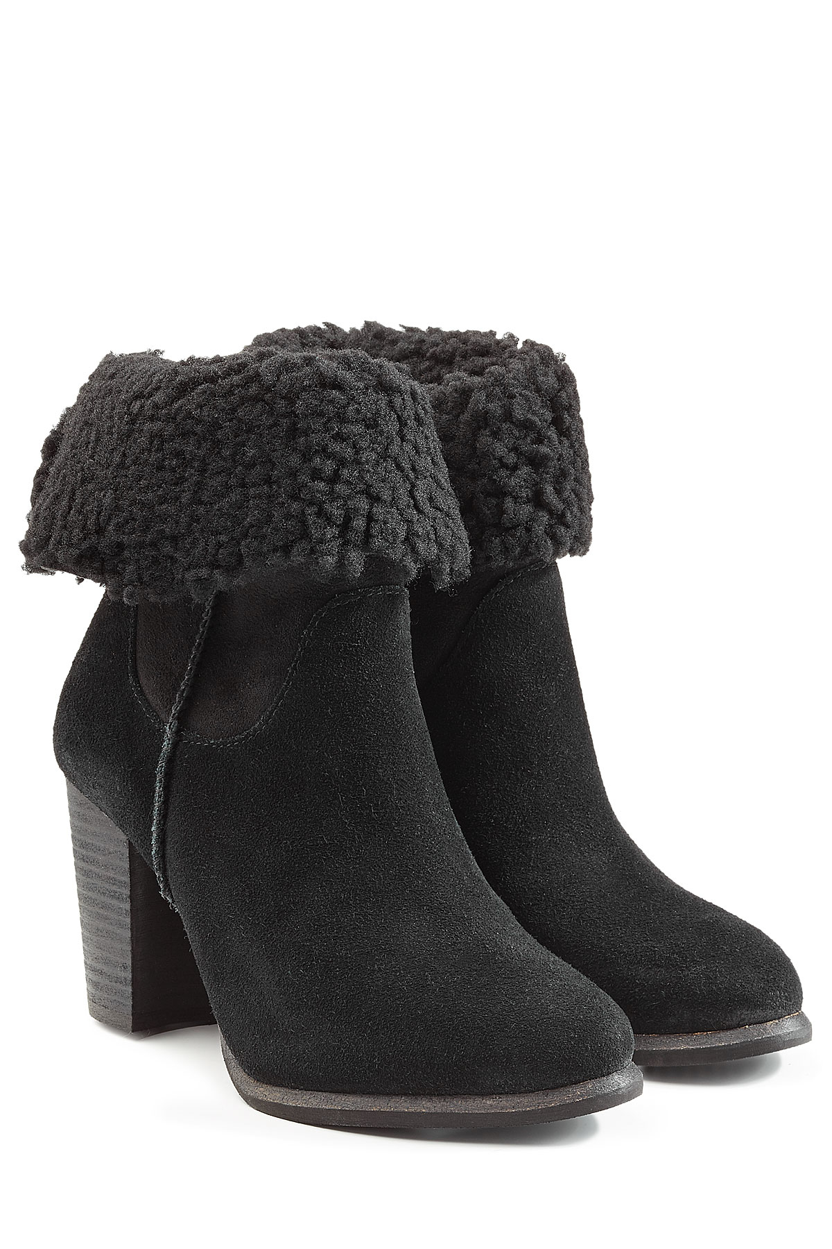 Ugg Charlee Suede Ankle Boots With Sheepskin - Black in ...