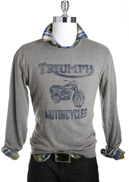 Lucky Brand Triumph Motorcycles Graphic Tshirt In Gray For