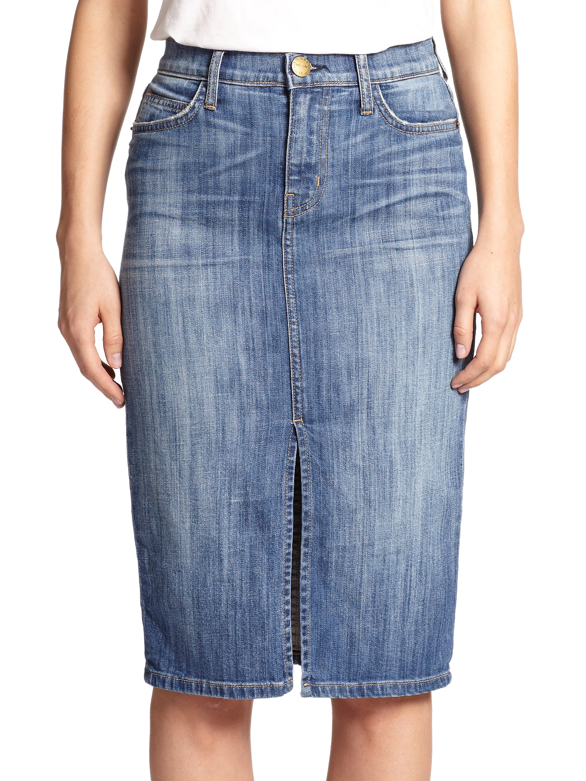 high waisted denim pencil skirt lyst current elliott high waist denim pencil skirt in blue 5439