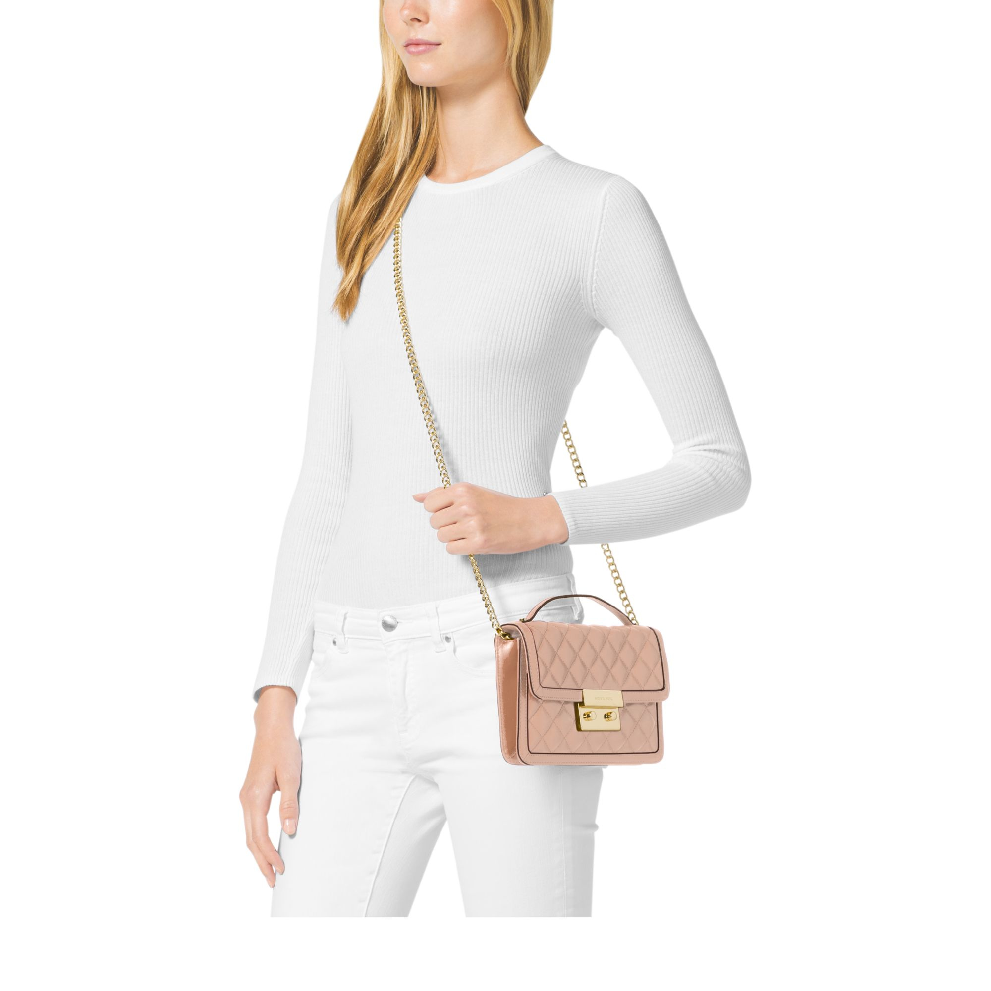 Michael Kors Sloan Small Leather Crossbody In Pink Lyst