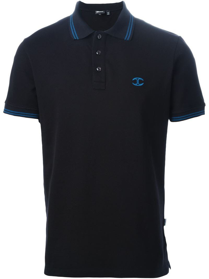 Lyst just cavalli logo embroidered polo shirt in black for Polo shirts with embroidery