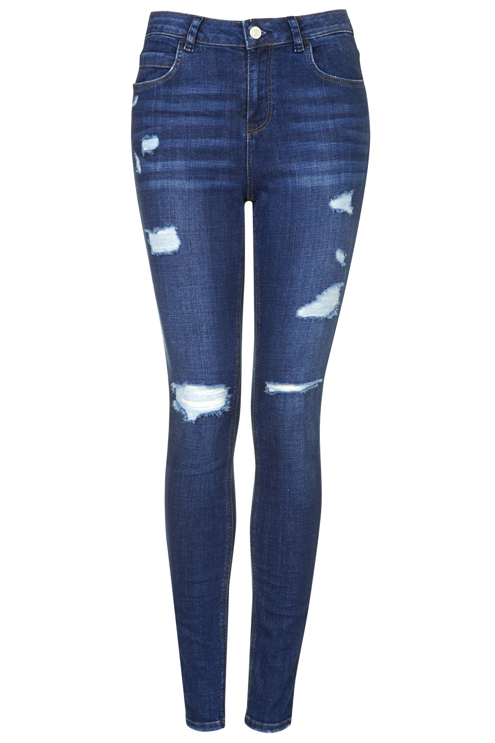 topshop blue petite moto ripped skinny jeans lyst. Black Bedroom Furniture Sets. Home Design Ideas