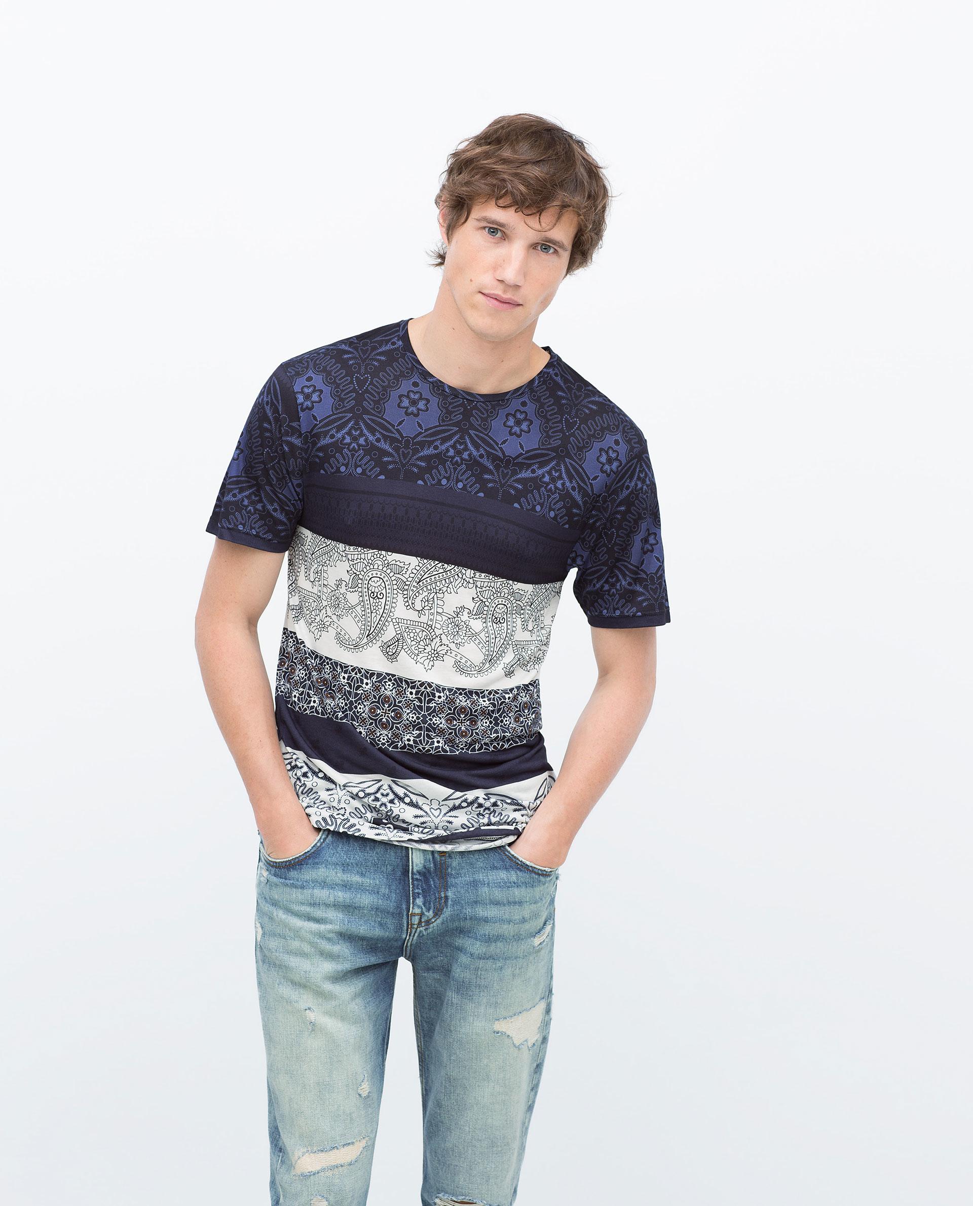 zara printed t shirt in gray for men lyst