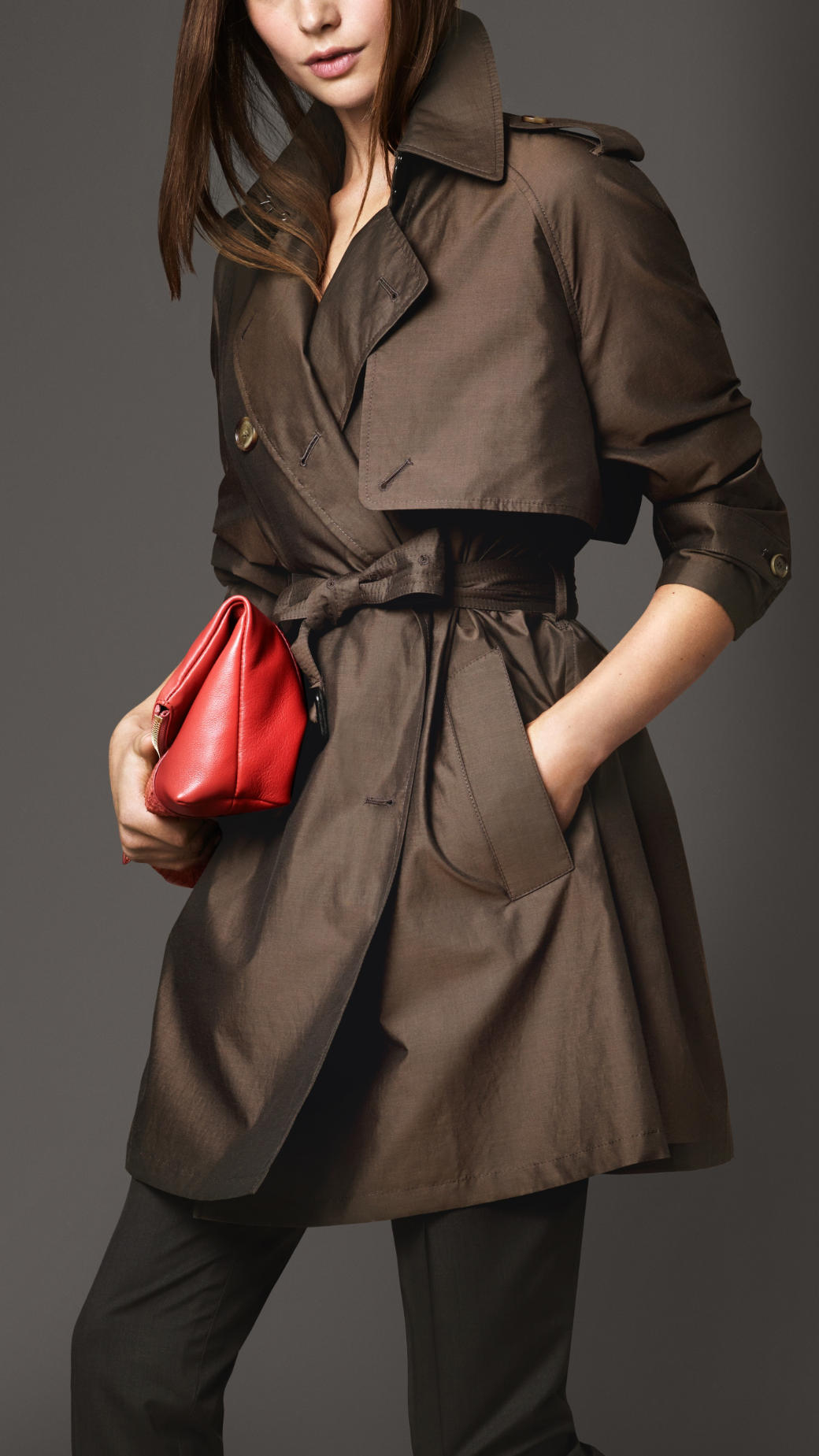 fa4e2575537 Burberry Midlength Oversize Detail Silk Cotton Trench Coat in Brown ...