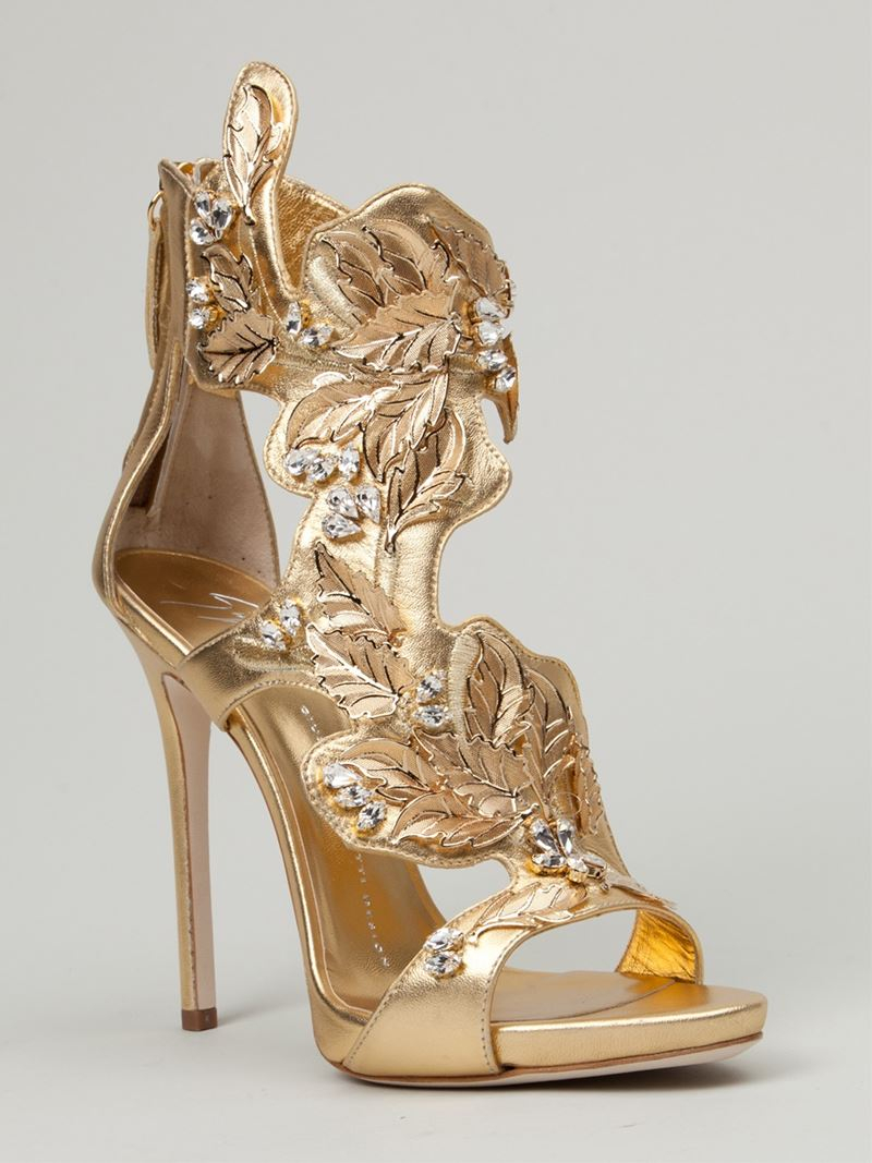 Lyst Giuseppe Zanotti Leaf Detail Sandals In Metallic