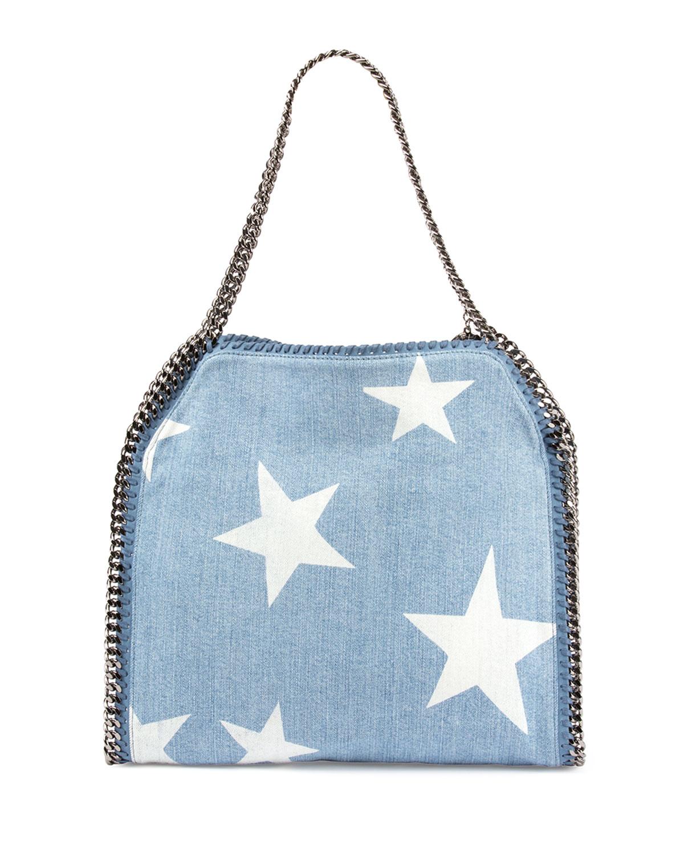 Lyst - Stella McCartney Small Falabella Star-print Tote Bag in Blue 19a708a36cde0