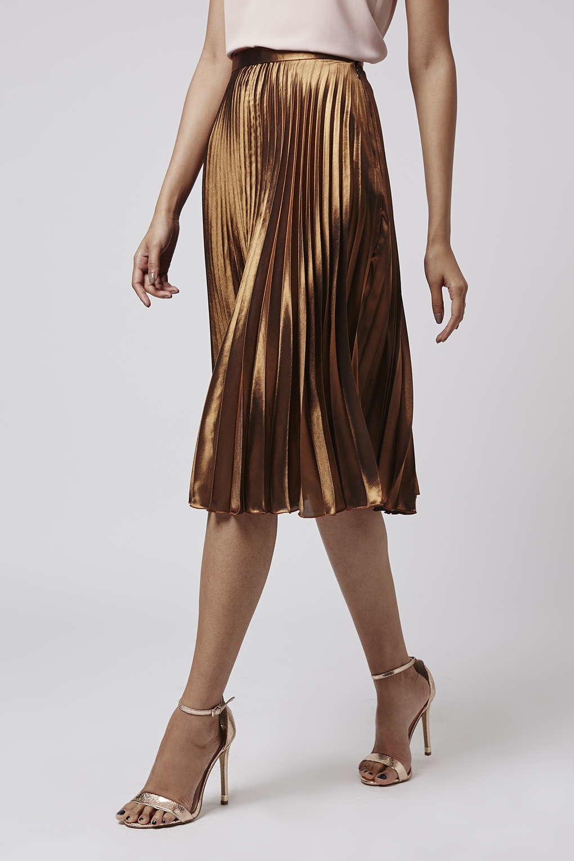Gold Pleated Midi Skirt - Dress Ala