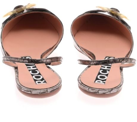 Rochas Metallic Stamped-Leather Point-Toe Flats in Brown (Metallic