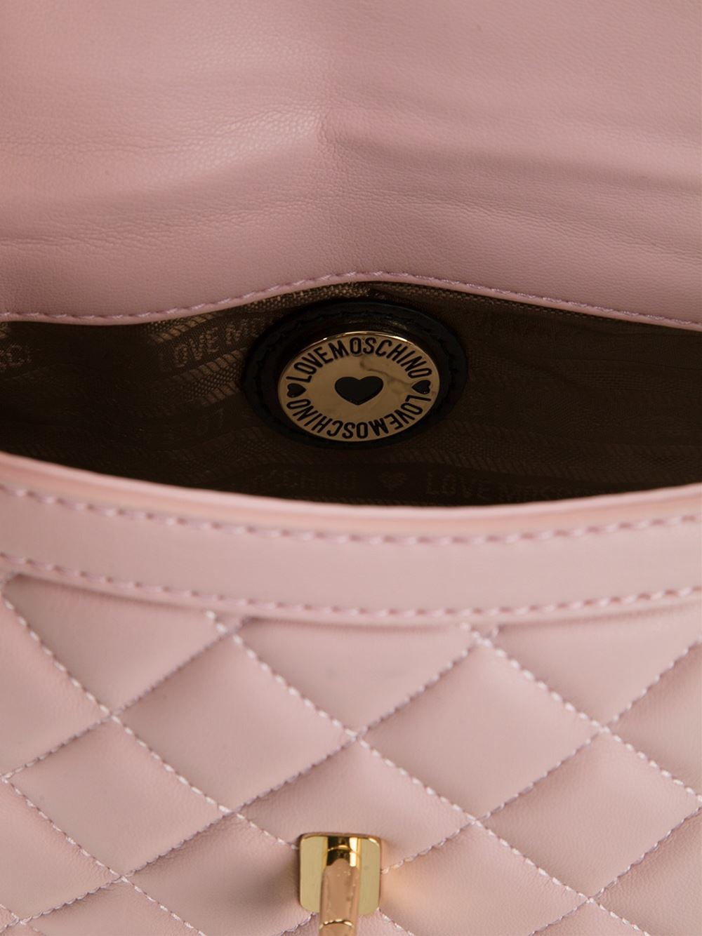 Love moschino Quilted-Leather Cross-Body Bag in Pink