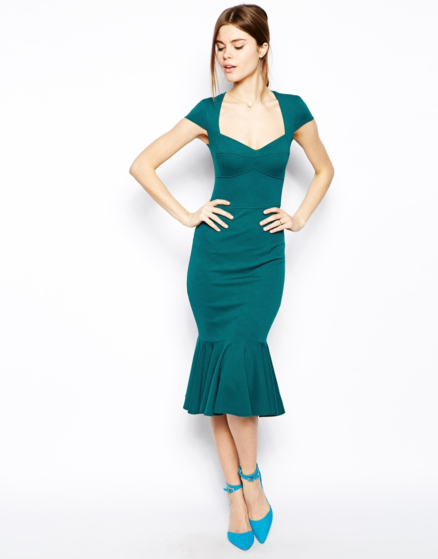 Lyst - Asos Midi Dress With Peplum Hem And Sweetheart Neck in Green
