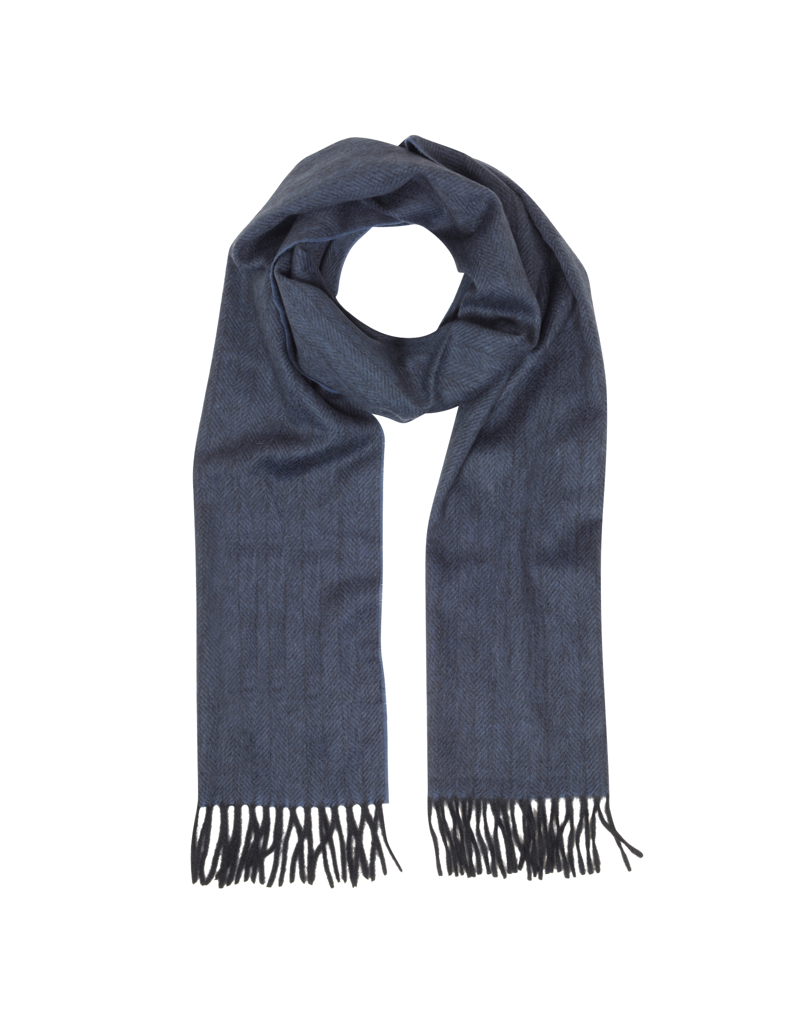 Lanvin Dark Blue And Black Herringbone Cashmere Fringed Men's ...