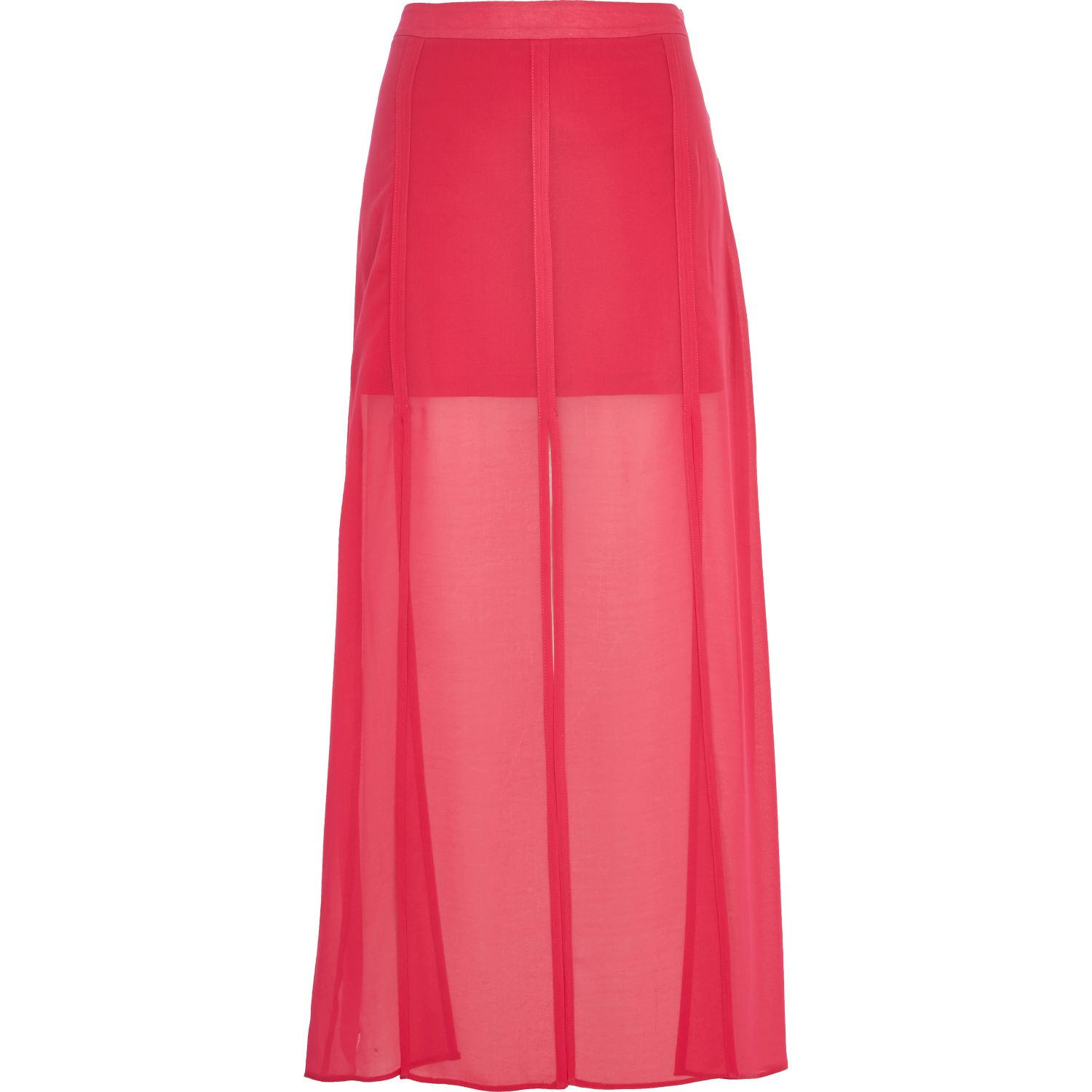 river island bright pink split panel maxi skirt in pink lyst