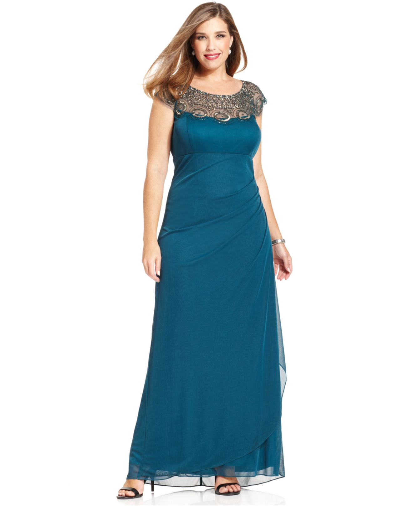 Lyst Xscape Plus Size Cap Sleeve Illusion Beaded Gown In Blue