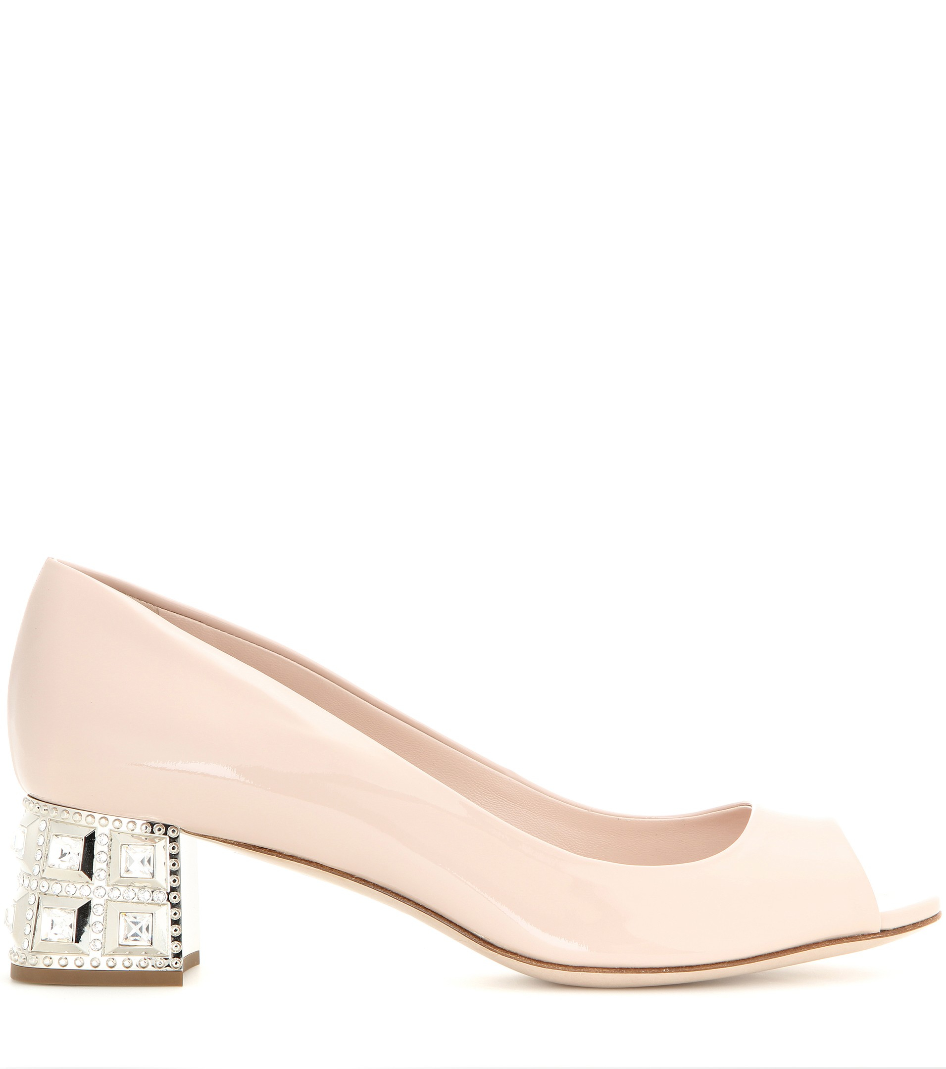 b3e7867217 Miu Miu Embellished Patent Leather Open-toe Pumps in Pink - Lyst
