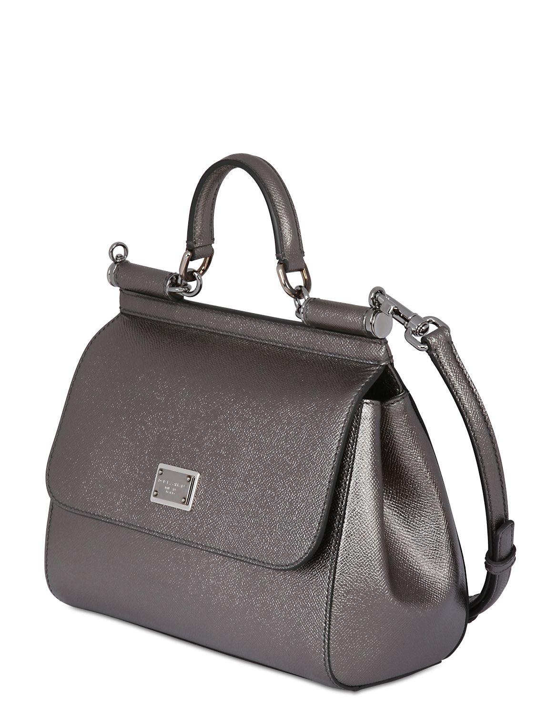 7969be4e5ab2 Dolce   Gabbana Medium Sicily Lamé Dauphine Leather Bag in Metallic ...