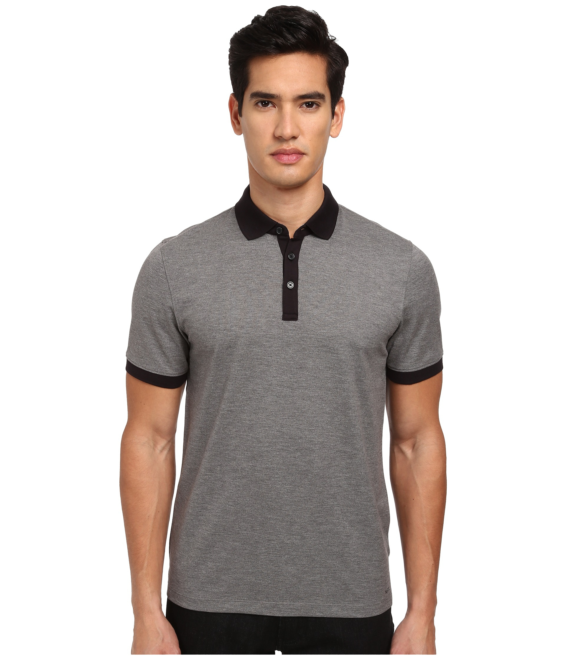 michael kors contrast pique polo shirt in gray for men lyst