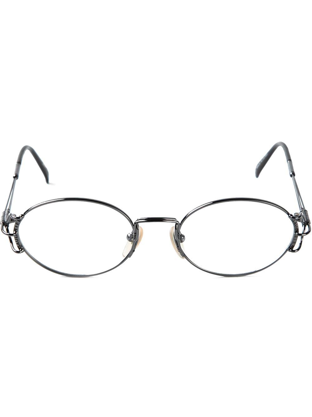 1d608706e82 Lyst - Jean Paul Gaultier Oval Frame Glasses in Metallic