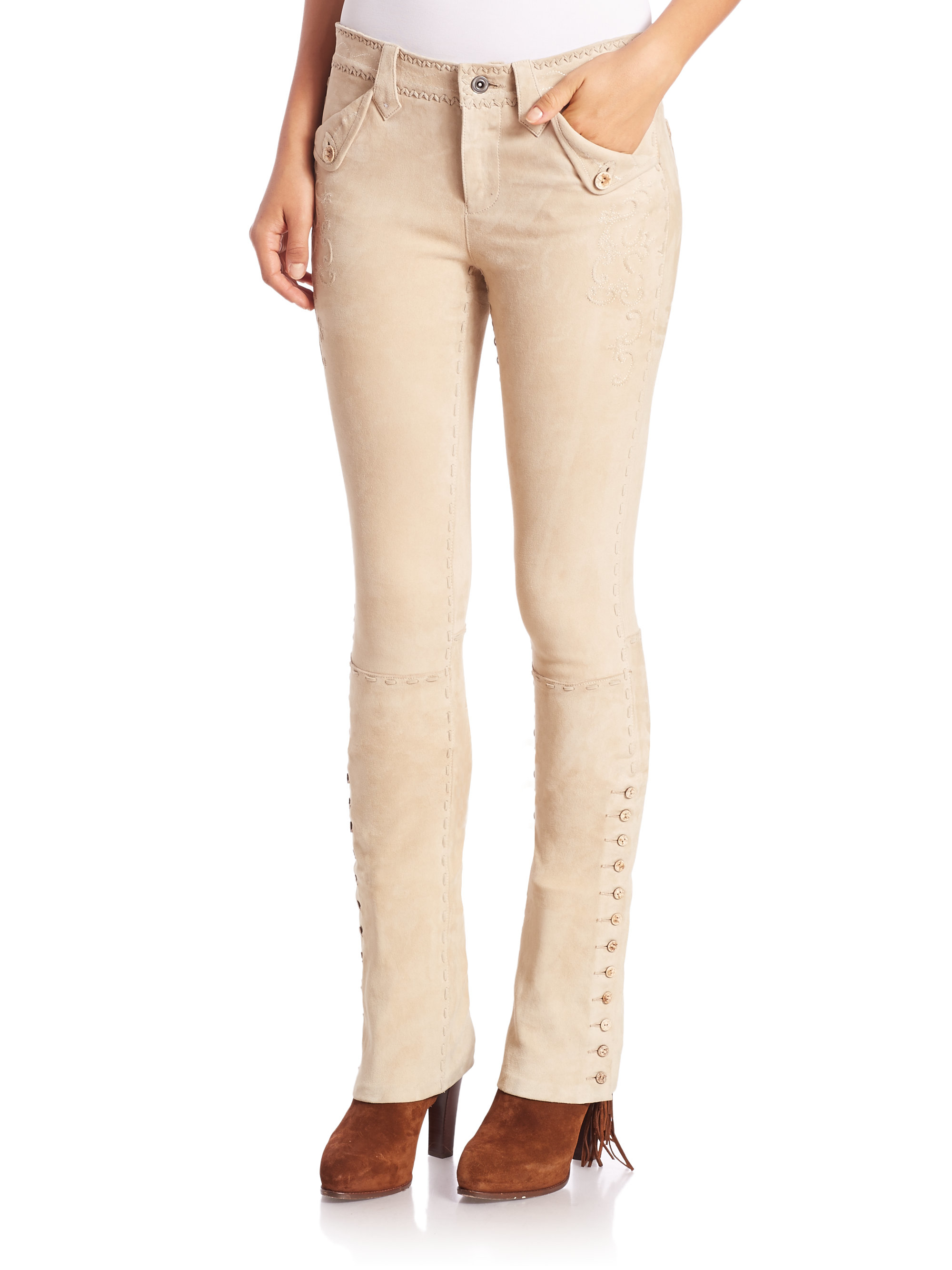 615491f0f Polo Ralph Lauren Slim-fit Stretch-suede Pants in Natural - Lyst