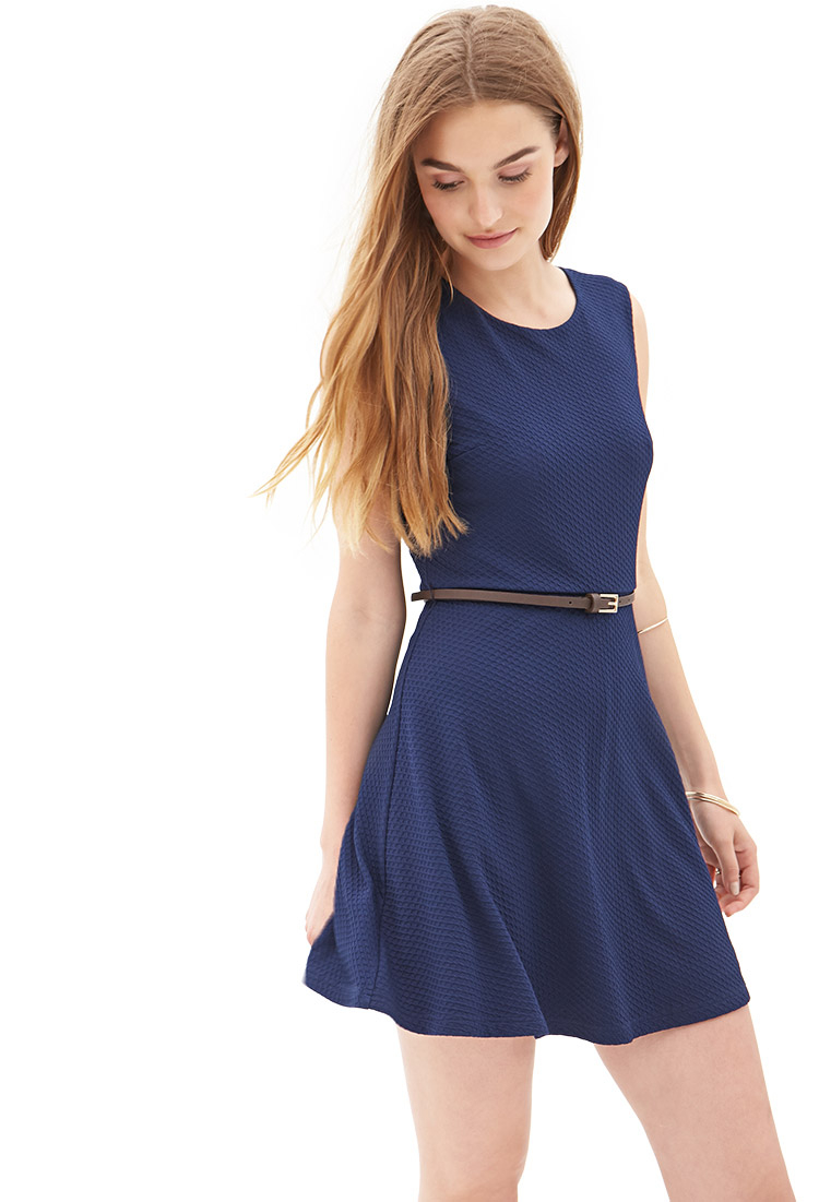 Forever 21 Textured Knit Skater Dress in Blue (Navy) | Lyst - photo #2