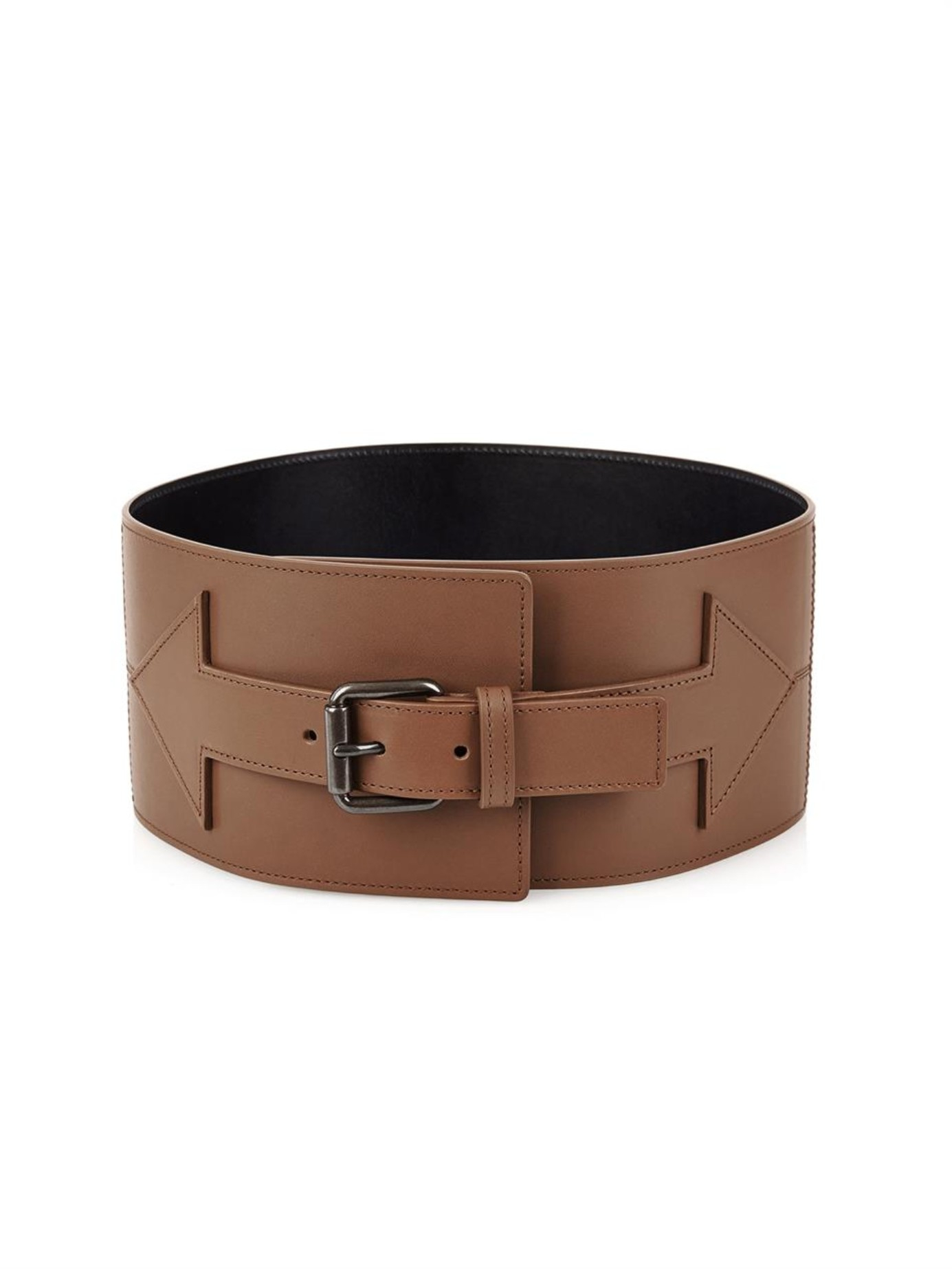 tomas maier arrow wide leather waist belt in brown lyst