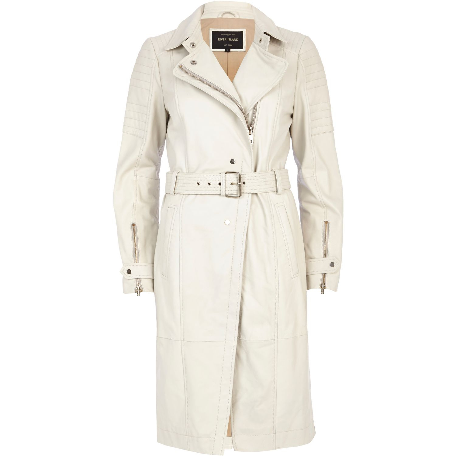 outlet sells sophisticated technologies River Island Cream Leather Trench Coat in White - Lyst