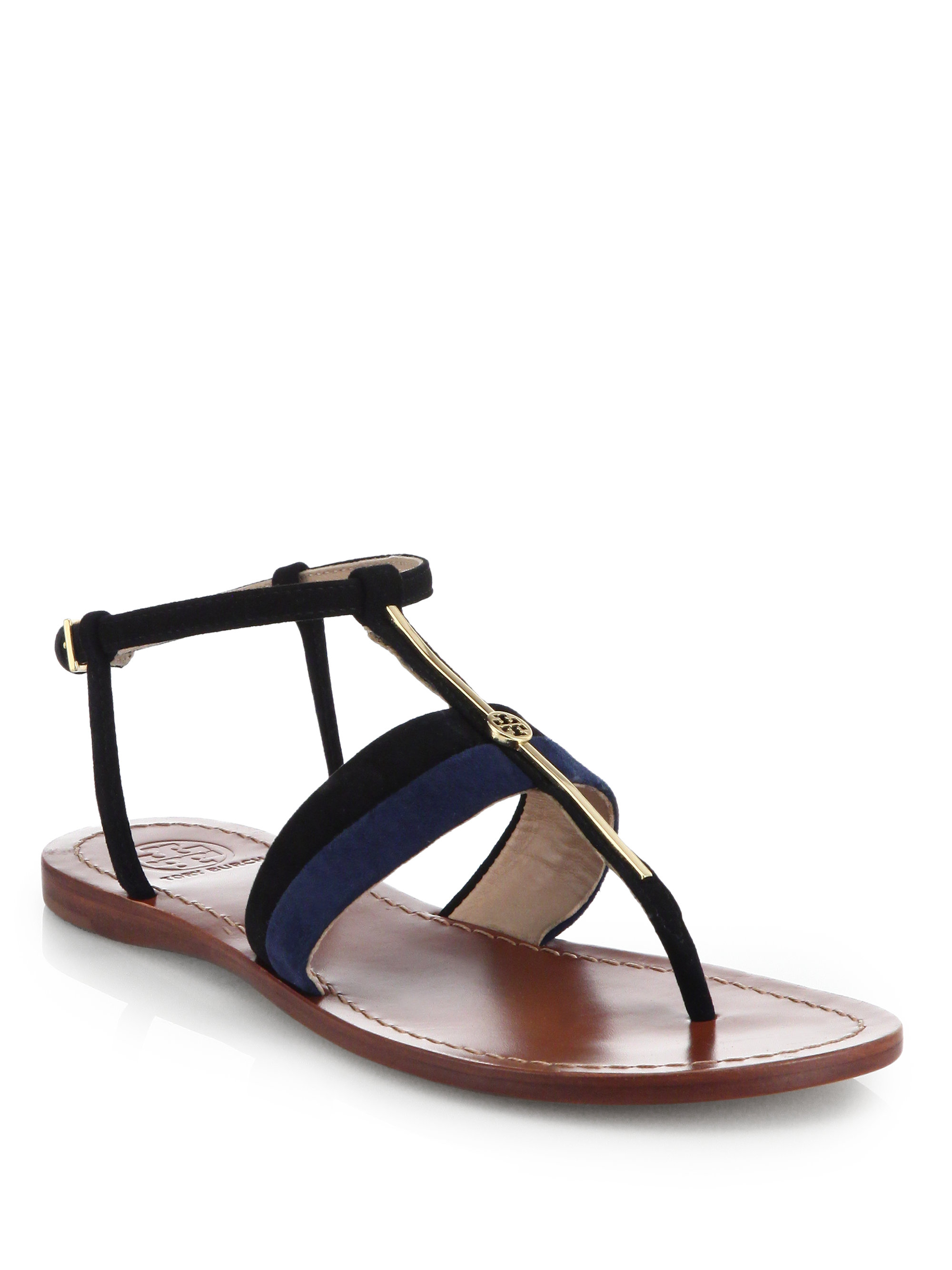 Two Strap Flat Sandals Black Leather
