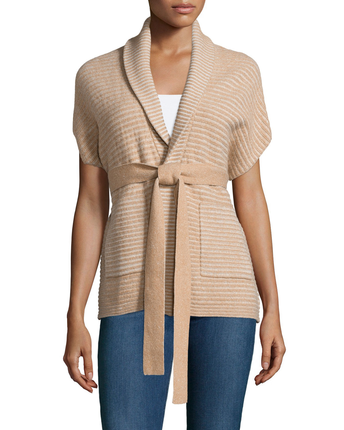 Todd and duncan Cashmere Belted Short-sleeve Cardigan in Natural ...