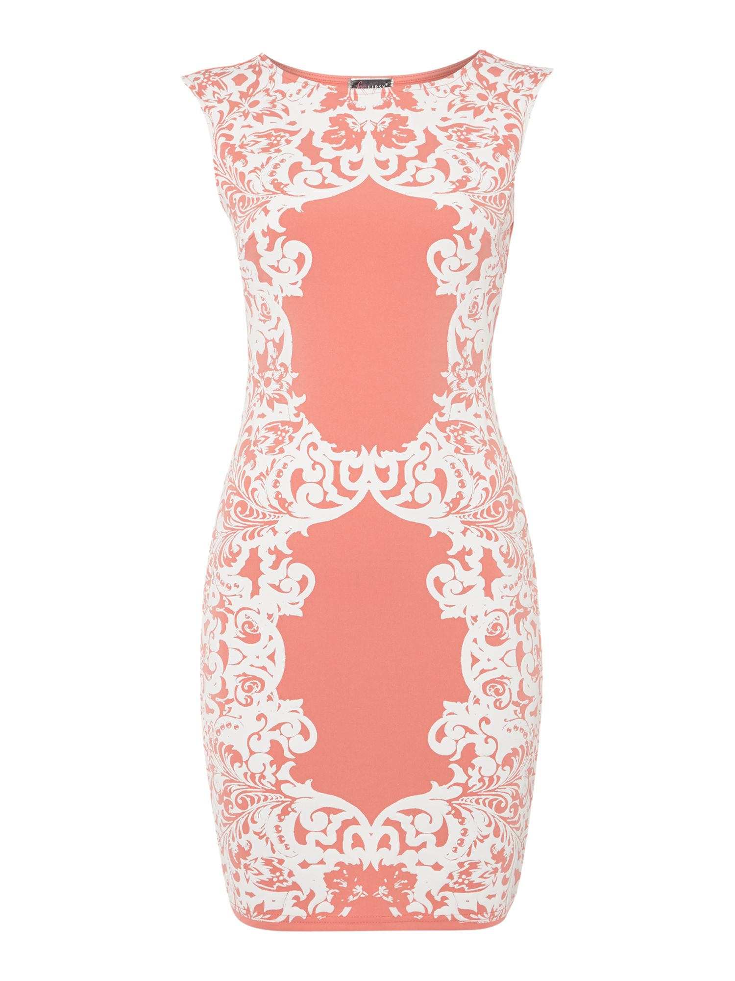Lipsy Cap Sleeve Puff Pattern Bodycon Dress in Pink