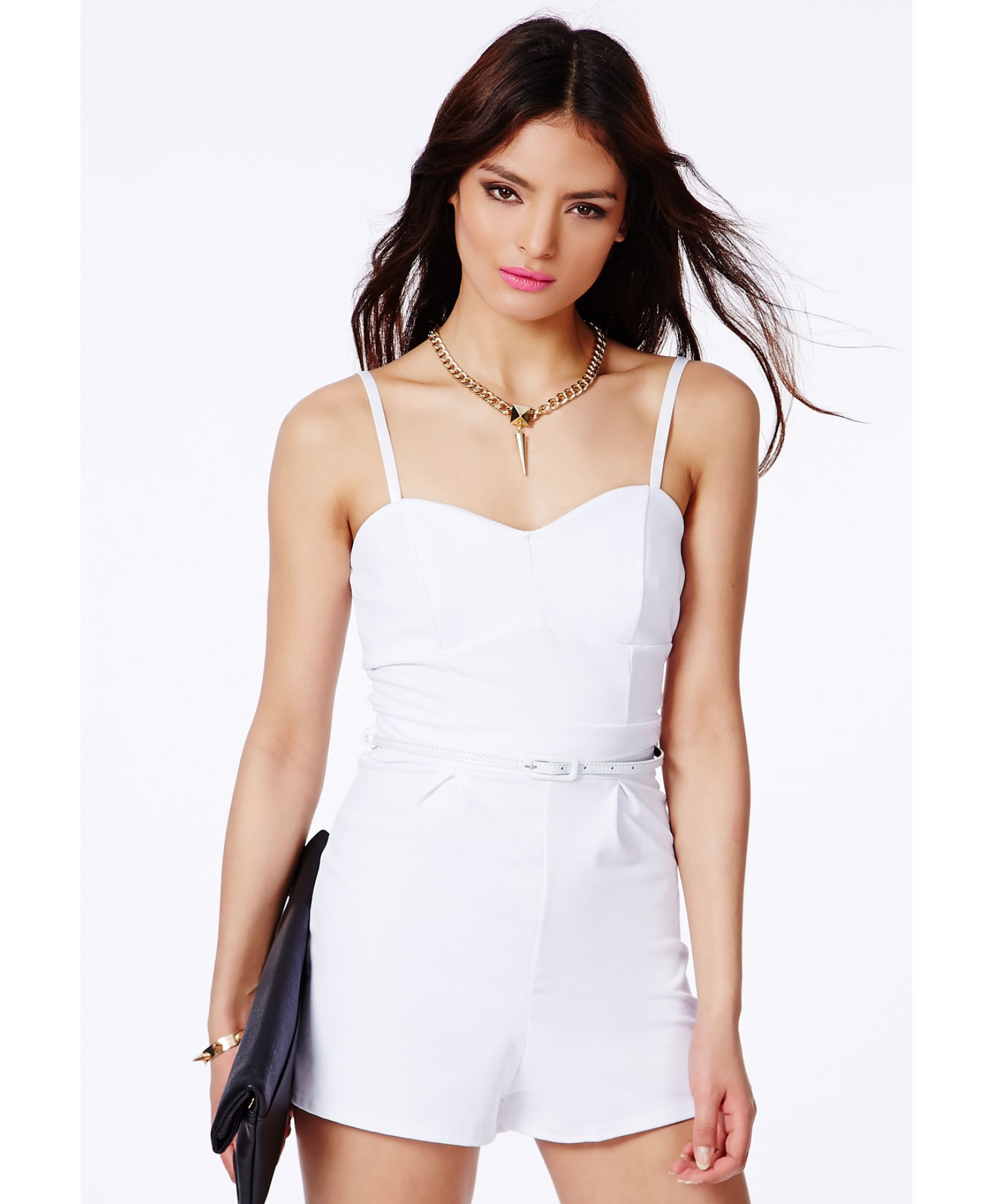 ec92d0f585 Lyst - Missguided Kaley White Tailored Playsuit with Belt in White