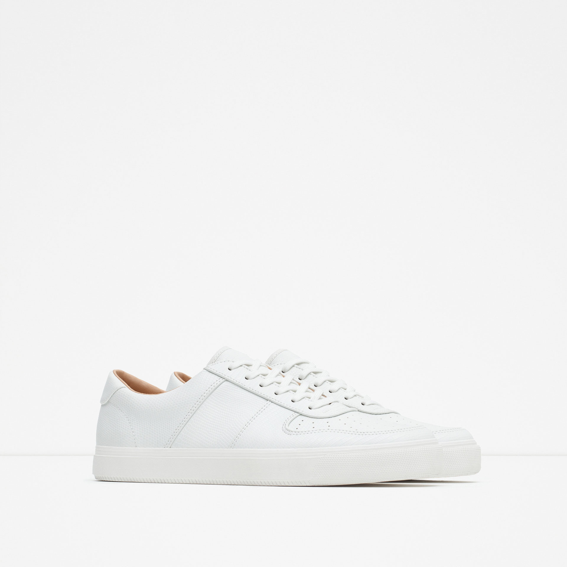zara brogue detail sneakers in white for lyst